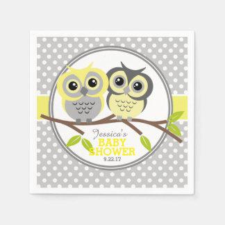 Fiesta de bienvenida al bebé adorable de los búhos servilleta de papel