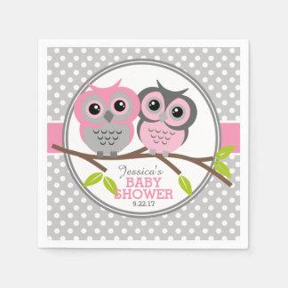 Fiesta de bienvenida al bebé adorable de los búhos servilletas de papel