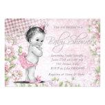 Fiesta de bienvenida al bebé adorable del rosa del invitacion personalizada
