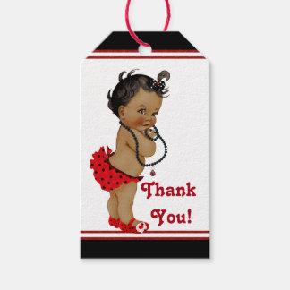 Fiesta de bienvenida al bebé afroamericana de la etiquetas para regalos