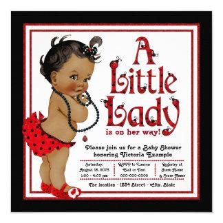 """Fiesta de bienvenida al bebé afroamericana del invitación 5.25"""" x 5.25"""""""