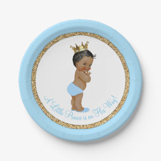 Fiesta de bienvenida al bebé afroamericana del oro platos de papel