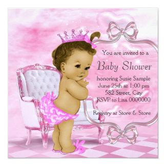 Fiesta de bienvenida al bebé afroamericana rosada comunicado