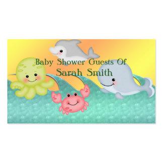 Fiesta de bienvenida al bebé alegre de las criatur plantilla de tarjeta de negocio