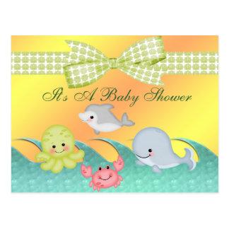 Fiesta de bienvenida al bebé alegre de las criatur tarjeta postal