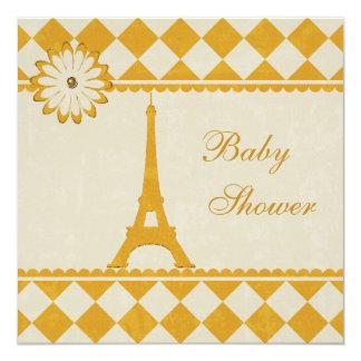 """Fiesta de bienvenida al bebé amarilla de Argyle de Invitación 5.25"""" X 5.25"""""""