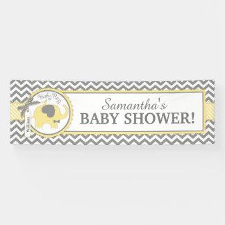 Fiesta de bienvenida al bebé amarilla de Chevron Lona