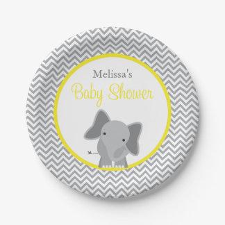 Fiesta de bienvenida al bebé amarilla de Chevron Platos De Papel