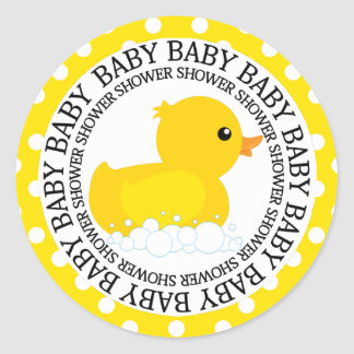 Fiesta de bienvenida al bebé amarilla de Duckie Pegatina Redonda