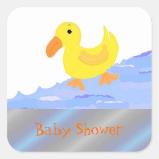 Fiesta de bienvenida al bebé amarilla del pato pegatina cuadrada