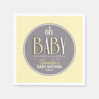 Fiesta de bienvenida al bebé amarilla elegante servilleta de papel