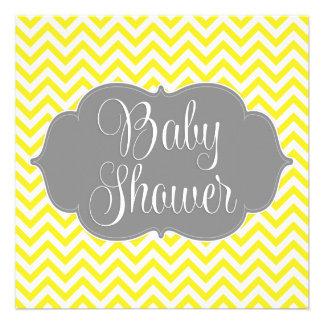 Fiesta de bienvenida al bebé amarilla gris moderna invitación personalizada