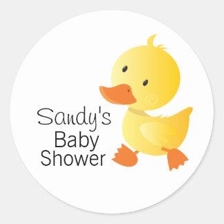 Fiesta de bienvenida al bebé amarilla linda de pegatina redonda