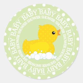Fiesta de bienvenida al bebé amarilla linda del pegatina redonda