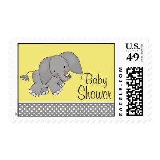 Fiesta de bienvenida al bebé amarilla linda del timbres postales