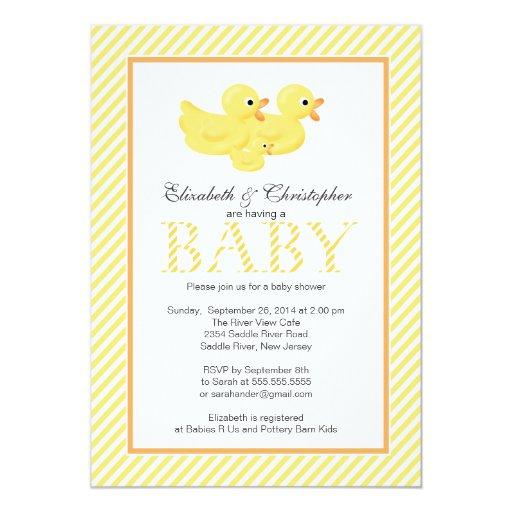 Fiesta de bienvenida al bebé amarilla moderna de invitación 12,7 x 17,8 cm