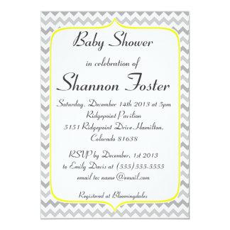 Fiesta de bienvenida al bebé amarilla y gris invitación 12,7 x 17,8 cm