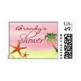 Fiesta de bienvenida al bebé amarilla y rosada del timbres postales
