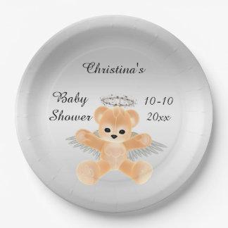Fiesta de bienvenida al bebé anaranjada del oso de plato de papel 22,86 cm