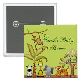 Fiesta de bienvenida al bebé animal de la celebrac pin cuadrada 5 cm