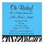 Fiesta de bienvenida al bebé azul B601 de la cebra Invitación 13,3 Cm X 13,3cm