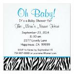 Fiesta de bienvenida al bebé azul blanca negra S02 Invitaciones Personales