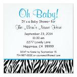 Fiesta de bienvenida al bebé azul blanca negra S02 Invitación 13,3 Cm X 13,3cm