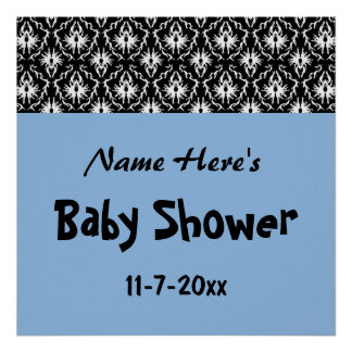 Fiesta de bienvenida al bebé azul, blanco y negro  poster