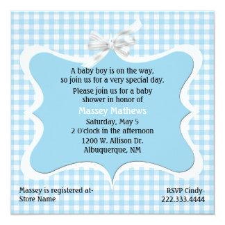 Fiesta de bienvenida al bebé azul bonita del invitaciones personalizada