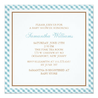 """Fiesta de bienvenida al bebé azul clara adorable invitación 5.25"""" x 5.25"""""""