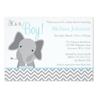 """Fiesta de bienvenida al bebé azul clara de Chevron Invitación 4.5"""" X 6.25"""""""