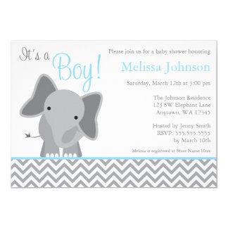"""Fiesta de bienvenida al bebé azul clara de Chevron Invitación 5"""" X 7"""""""