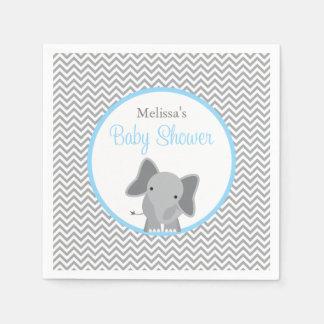 Fiesta de bienvenida al bebé azul clara de Chevron Servilleta Desechable