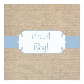 """Fiesta de bienvenida al bebé azul clara y beige invitación 5.25"""" x 5.25"""""""