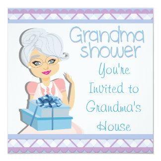 Fiesta de bienvenida al bebé azul de la abuela invitación 13,3 cm x 13,3cm