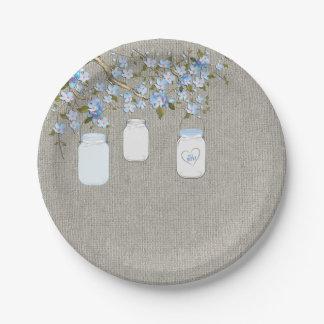 Fiesta de bienvenida al bebé azul de la arpillera platos de papel