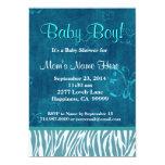 Fiesta de bienvenida al bebé azul de la cebra y invitación 12,7 x 17,8 cm