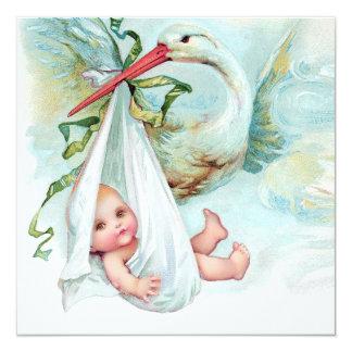 Fiesta de bienvenida al bebé azul de la cigüeña invitacion personal