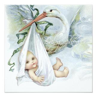 """Fiesta de bienvenida al bebé azul de la cigüeña invitación 5.25"""" x 5.25"""""""