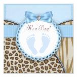 Fiesta de bienvenida al bebé azul de la huella de invitacion personal