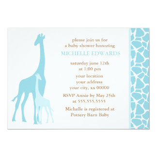 """Fiesta de bienvenida al bebé azul de la jirafa de invitación 5"""" x 7"""""""