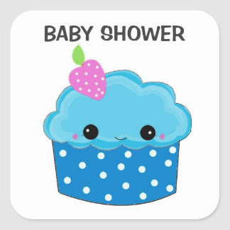 Fiesta de bienvenida al bebé azul de la magdalena pegatina cuadrada
