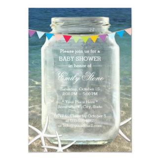 Fiesta de bienvenida al bebé azul de la playa del invitación 12,7 x 17,8 cm