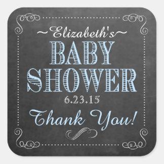 Fiesta de bienvenida al bebé azul de la tipografía pegatina cuadrada