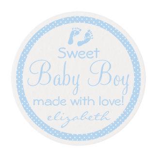 Fiesta de bienvenida al bebé azul de las huellas láminas de azúcar para galletas