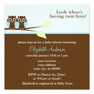 Fiesta de bienvenida al bebé azul de los gemelos d invitación