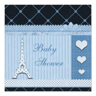 """Fiesta de bienvenida al bebé azul de los lunares invitación 5.25"""" x 5.25"""""""