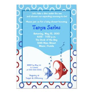 Fiesta de bienvenida al bebé AZUL de los PESCADOS Invitaciones Personales