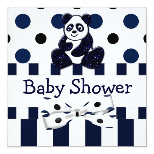 Fiesta de bienvenida al bebé azul de los puntos y invitación 13,3 cm x 13,3cm