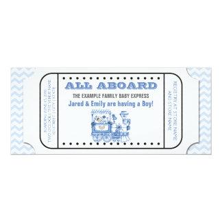 """Fiesta de bienvenida al bebé azul del boleto de invitación 4"""" x 9.25"""""""